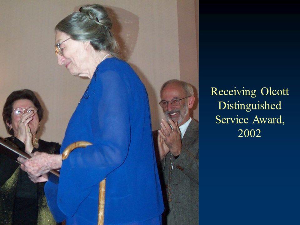 Receiving Olcott Distinguished Service Award, 2002