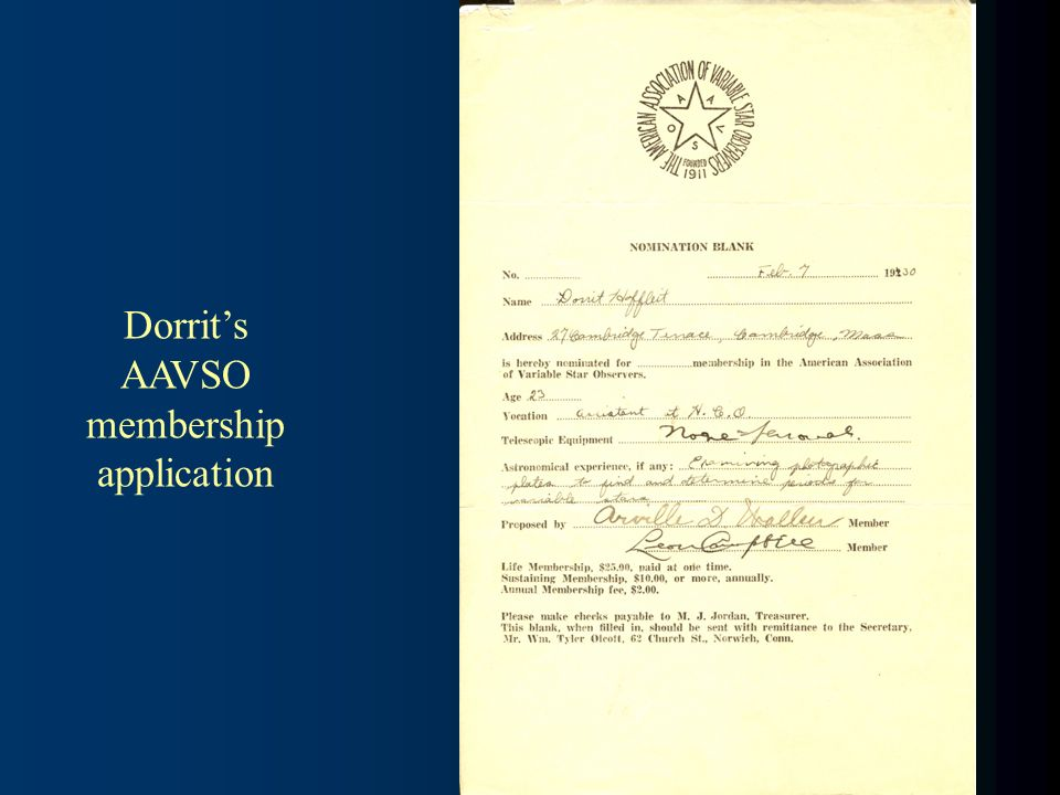 Dorrits AAVSO membership application