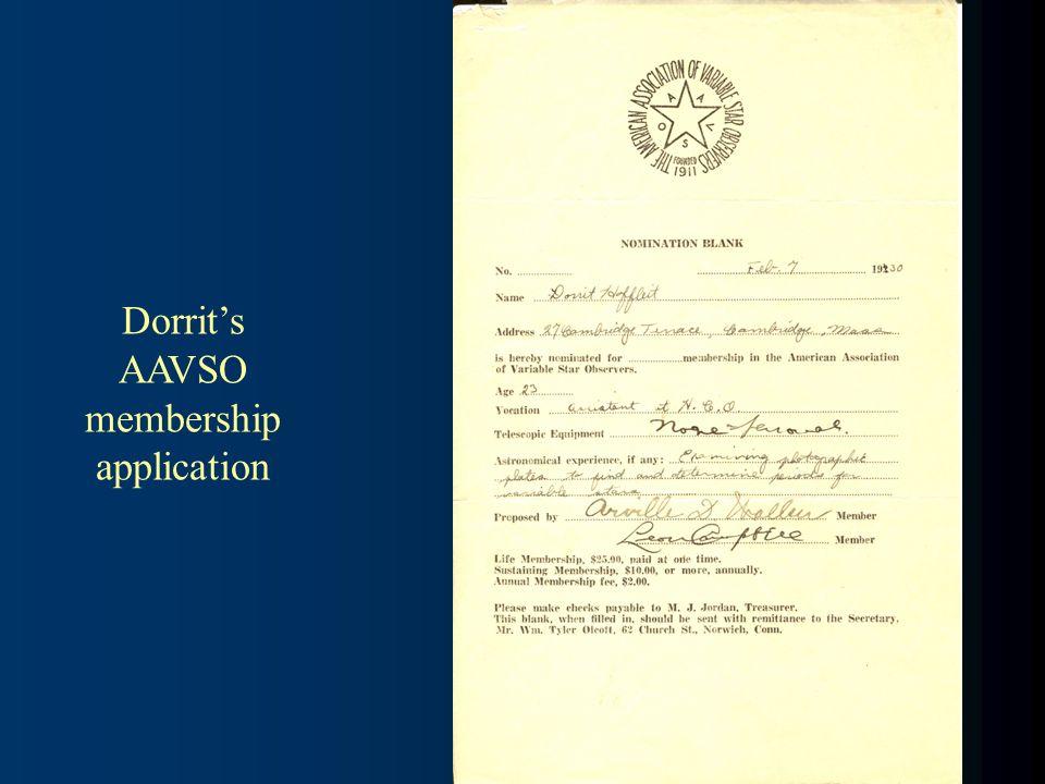 Dorrits AAVSO membership application