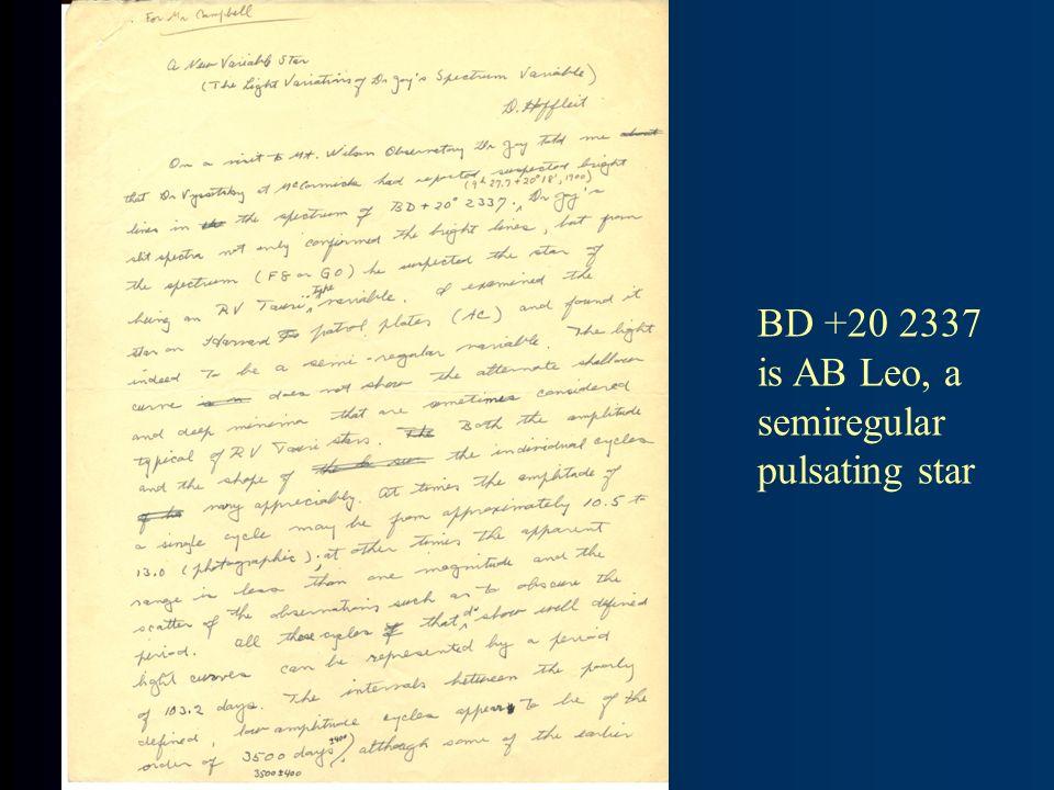 BD +20 2337 is AB Leo, a semiregular pulsating star