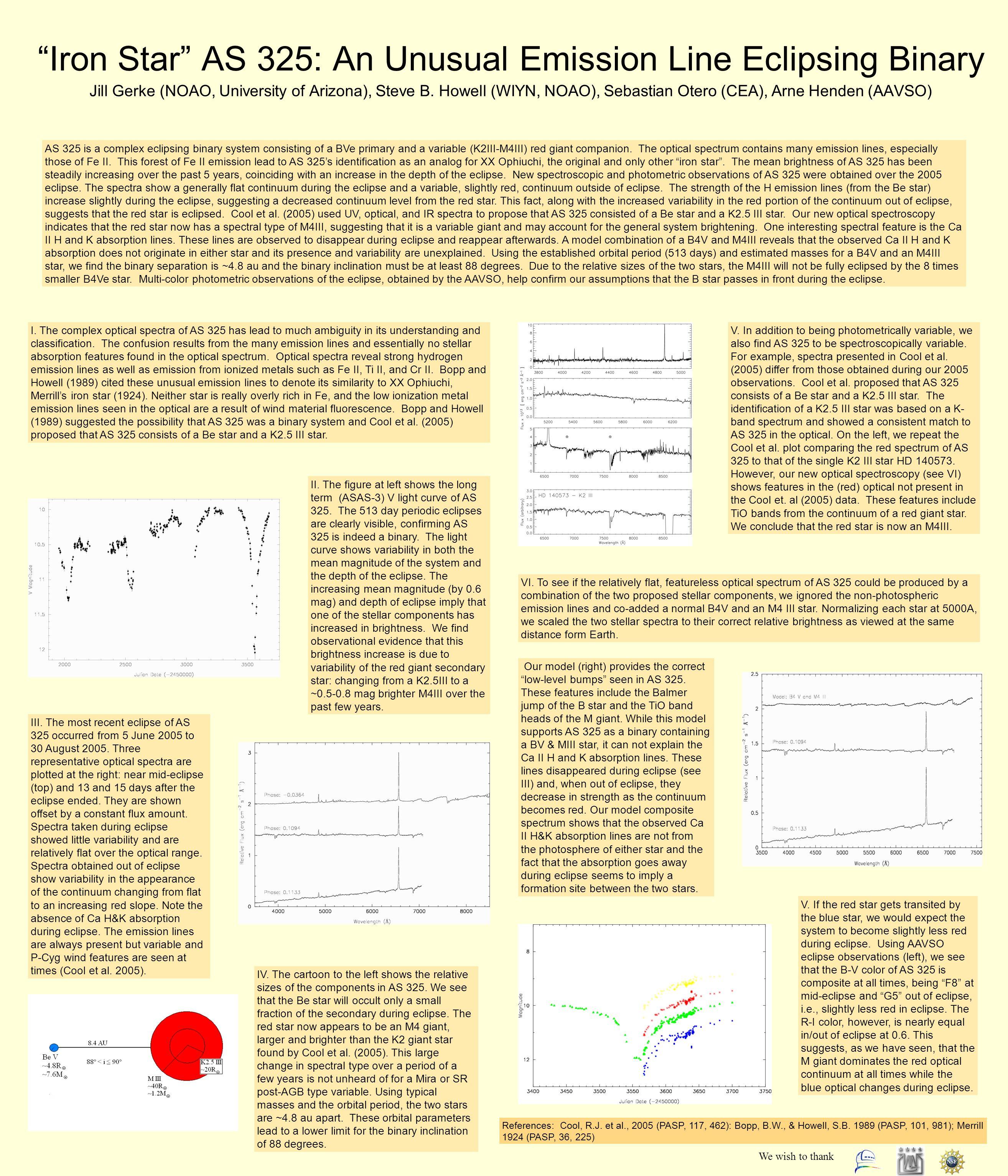 Iron Star AS 325: An Unusual Emission Line Eclipsing Binary Jill Gerke (NOAO, University of Arizona), Steve B.