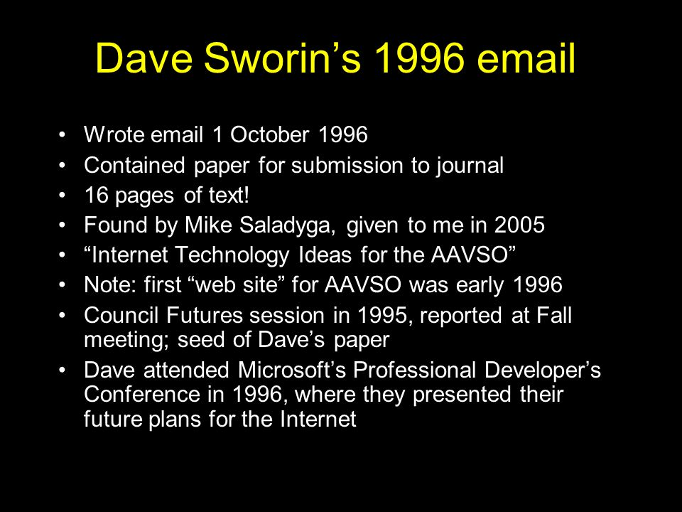 Dave Sworins 1996 email Wrote email 1 October 1996 Contained paper for submission to journal 16 pages of text.