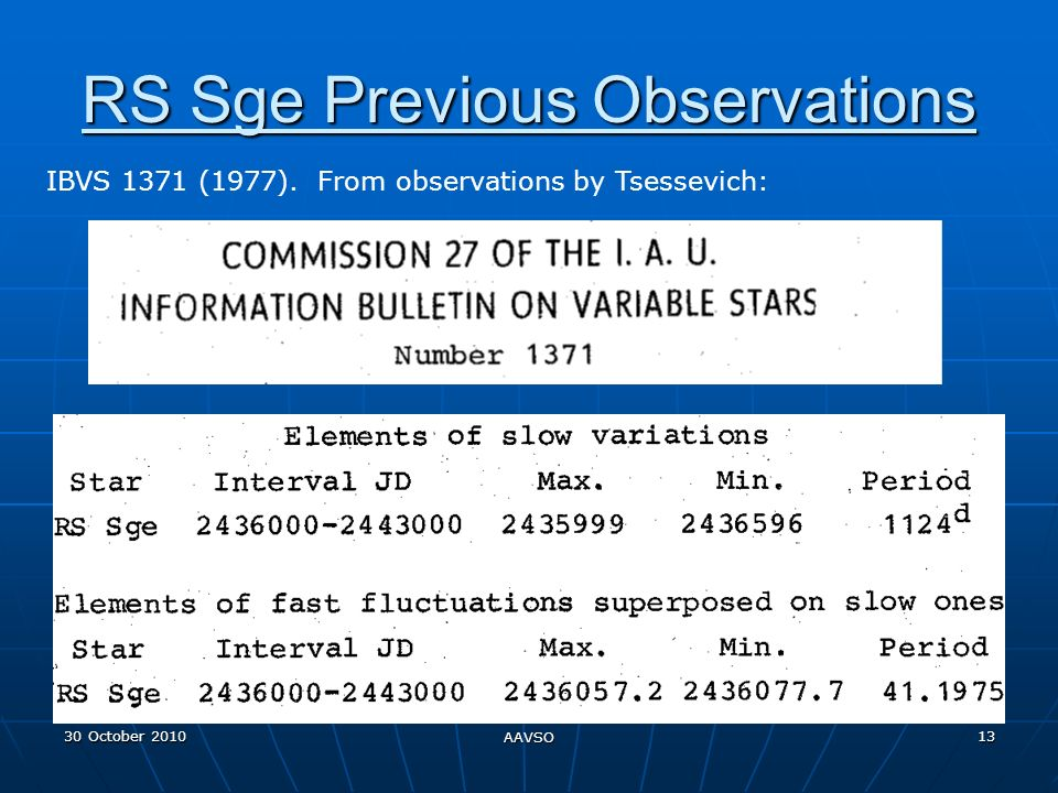 30 October 2010 AAVSO 13 RS Sge Previous Observations IBVS 1371 (1977).