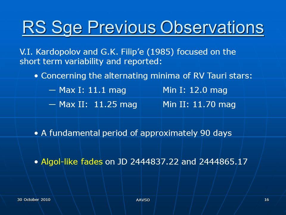 30 October 2010 AAVSO 16 RS Sge Previous Observations V.I.
