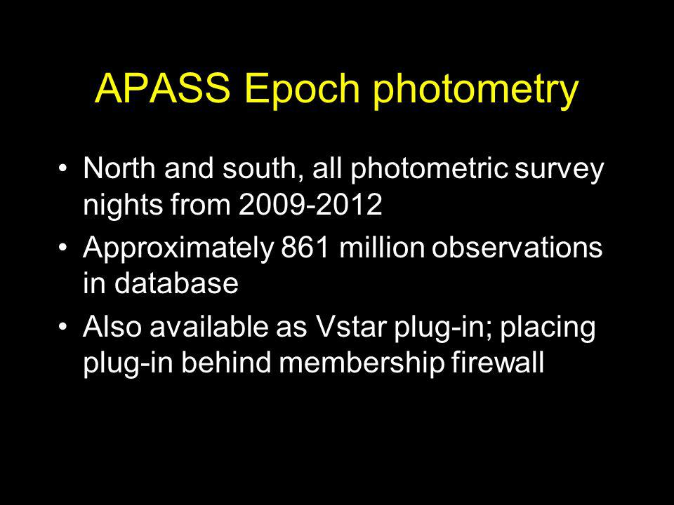 APASS Epoch photometry North and south, all photometric survey nights from 2009-2012 Approximately 861 million observations in database Also available
