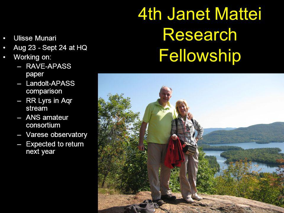 4th Janet Mattei Research Fellowship Ulisse Munari Aug 23 - Sept 24 at HQ Working on: –RAVE-APASS paper –Landolt-APASS comparison –RR Lyrs in Aqr stre