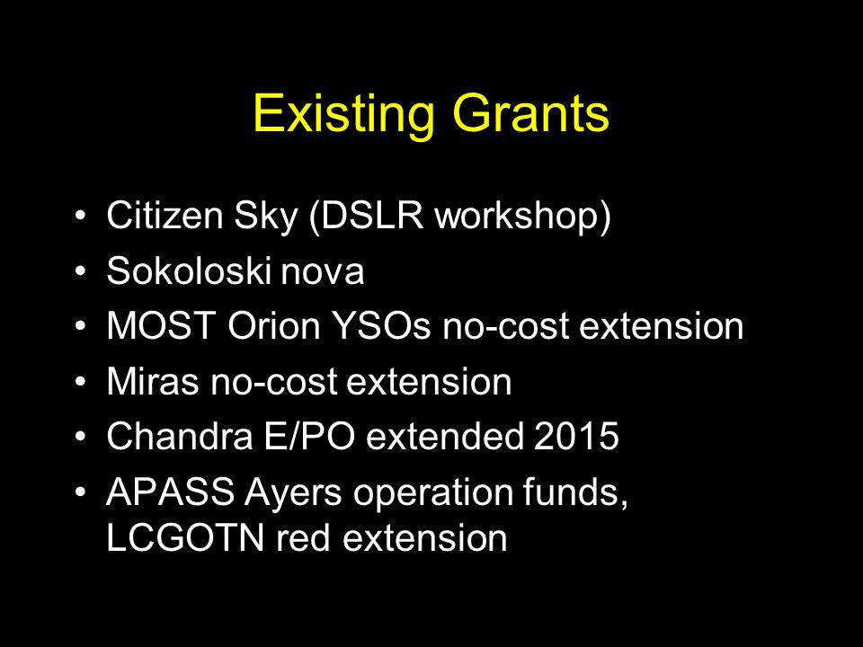 Existing Grants Citizen Sky (DSLR workshop) Sokoloski nova MOST Orion YSOs no-cost extension Miras no-cost extension Chandra E/PO extended 2015 APASS Ayers operation funds, LCGOTN red extension