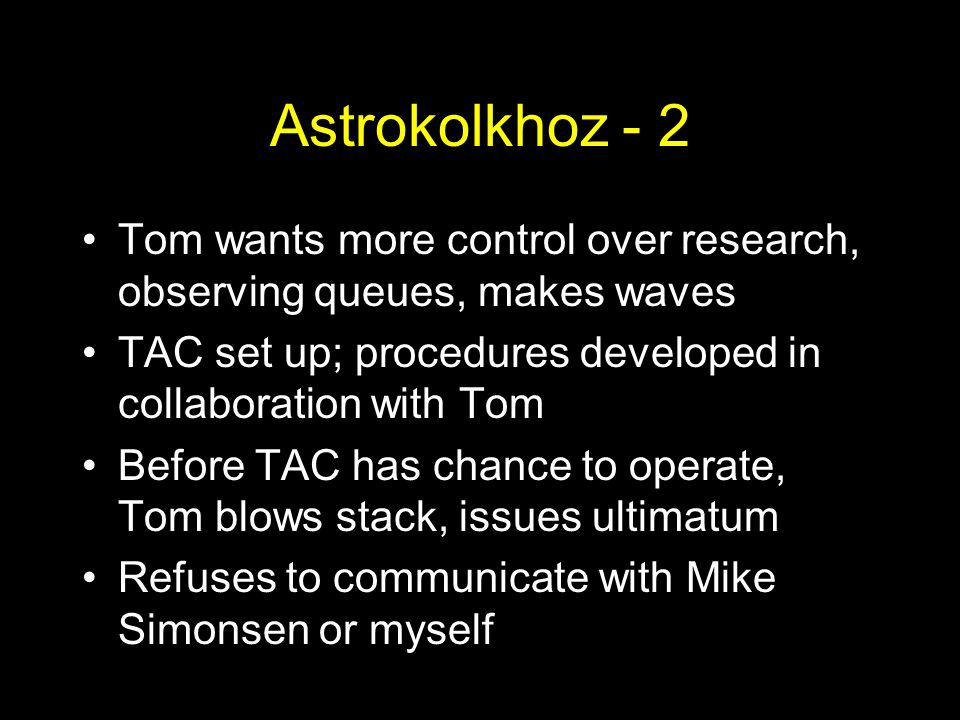 Astrokolkhoz - 2 Tom wants more control over research, observing queues, makes waves TAC set up; procedures developed in collaboration with Tom Before