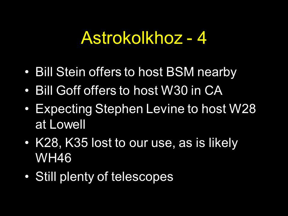Astrokolkhoz - 4 Bill Stein offers to host BSM nearby Bill Goff offers to host W30 in CA Expecting Stephen Levine to host W28 at Lowell K28, K35 lost