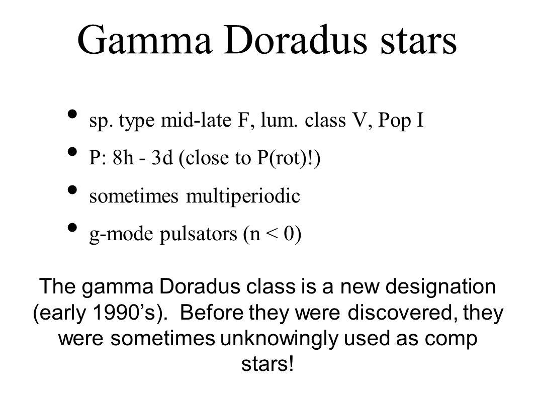 Gamma Doradus stars sp. type mid-late F, lum.