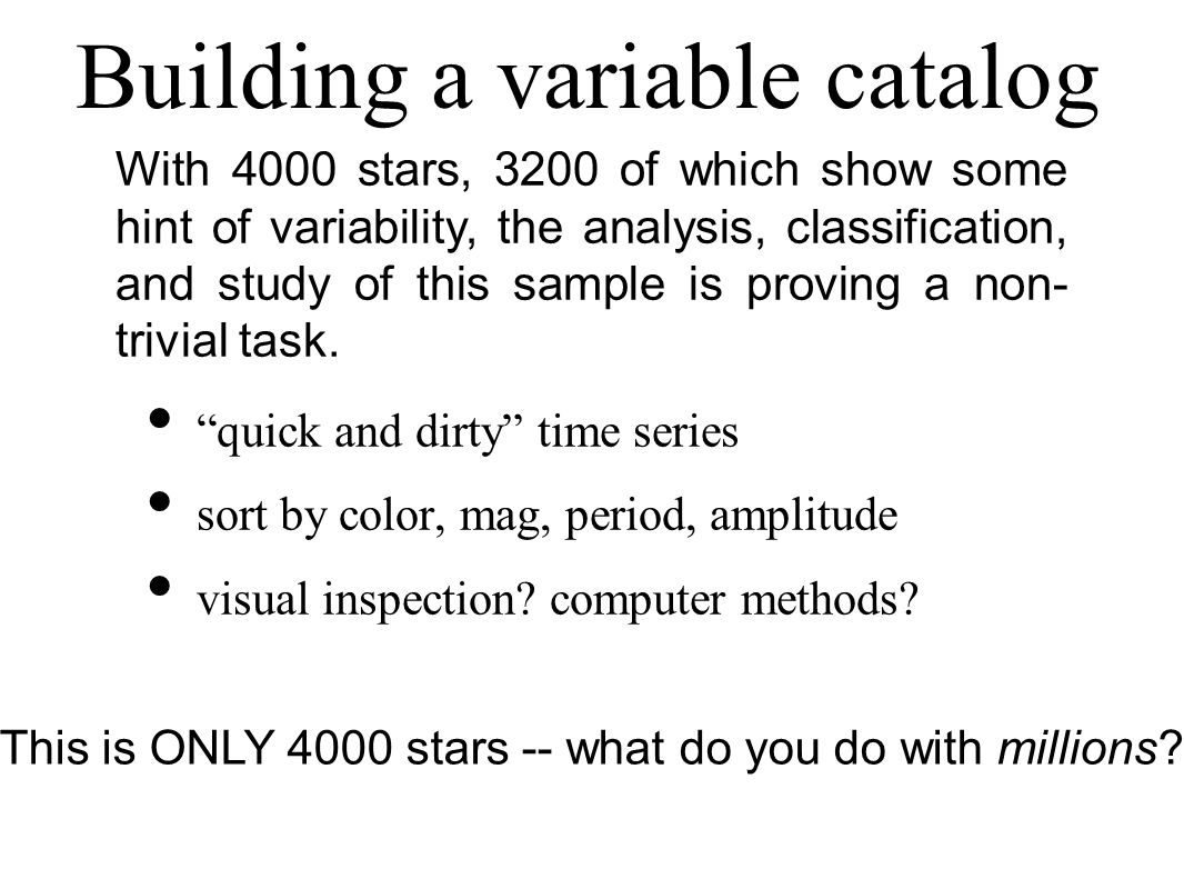 Building a variable catalog quick and dirty time series sort by color, mag, period, amplitude visual inspection? computer methods? With 4000 stars, 32