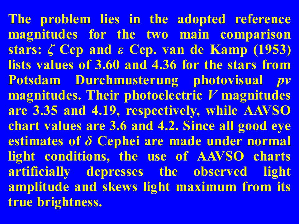 The problem lies in the adopted reference magnitudes for the two main comparison stars: ζ Cep and ε Cep.
