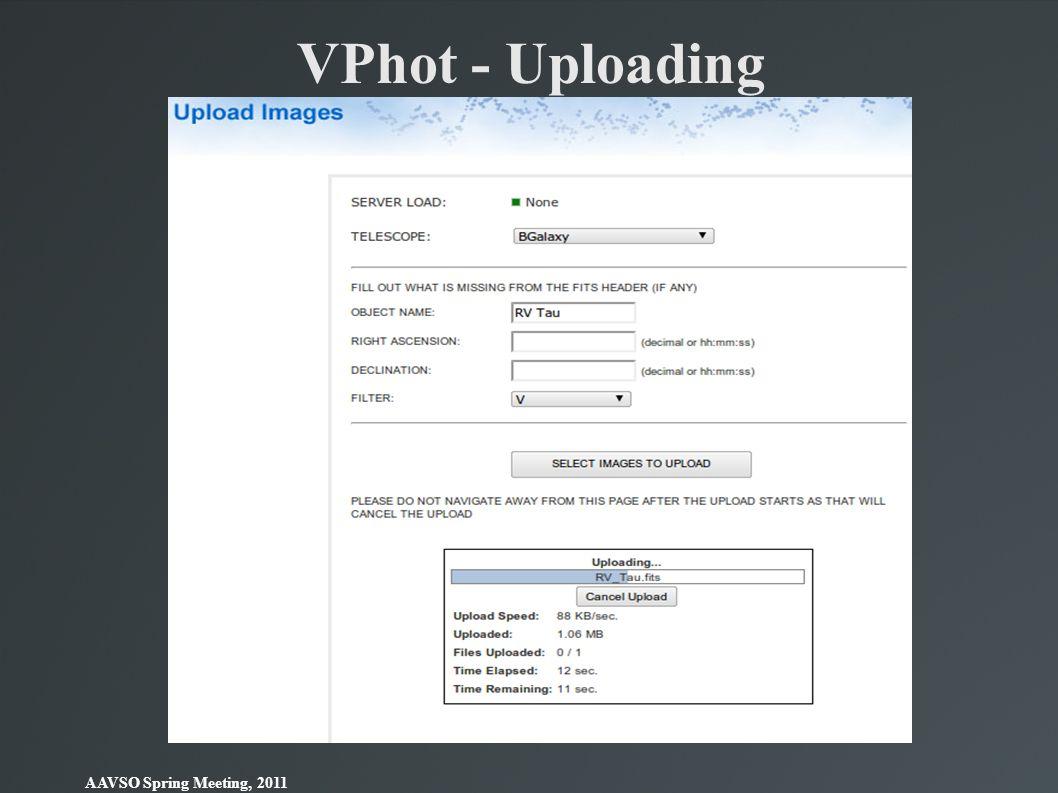 AAVSO Spring Meeting, 2011 VPhot - Uploading