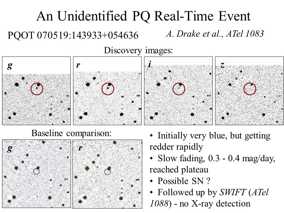 An Unidentified PQ Real-Time Event A. Drake et al., ATel 1083 PQOT 070519:143933+054636 Discovery images: Baseline comparison: g g r r iz Initially ve