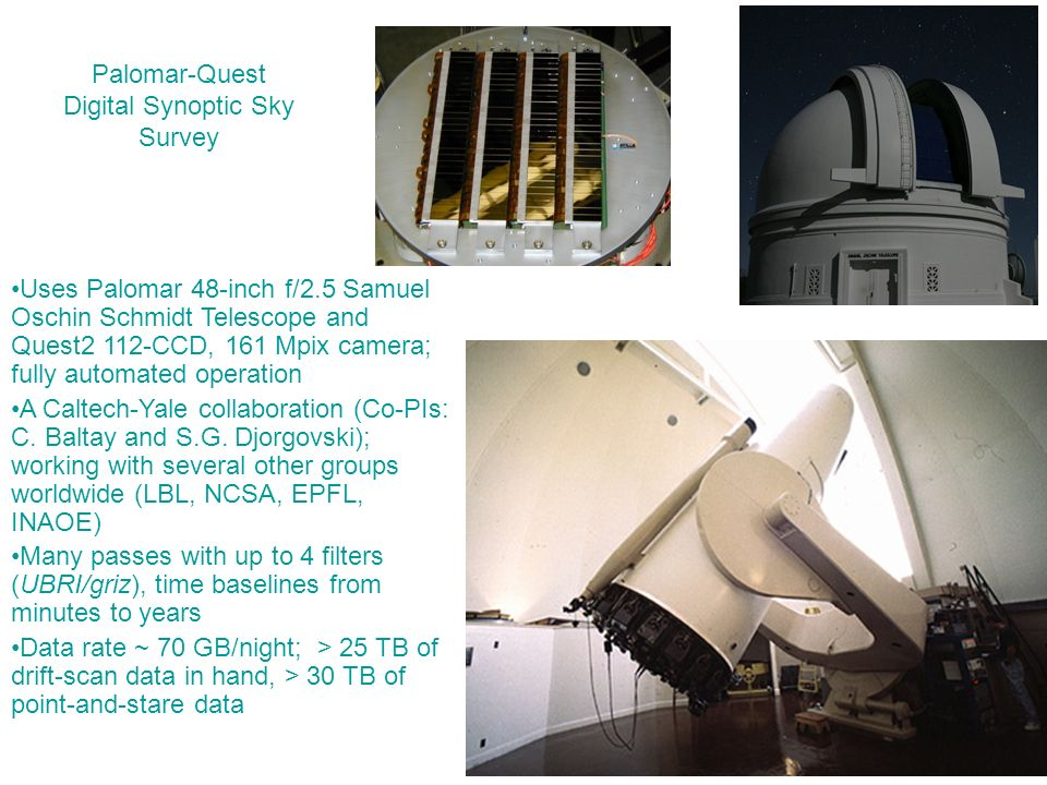 Palomar-Quest Digital Synoptic Sky Survey Uses Palomar 48-inch f/2.5 Samuel Oschin Schmidt Telescope and Quest2 112-CCD, 161 Mpix camera; fully automated operation A Caltech-Yale collaboration (Co-PIs: C.