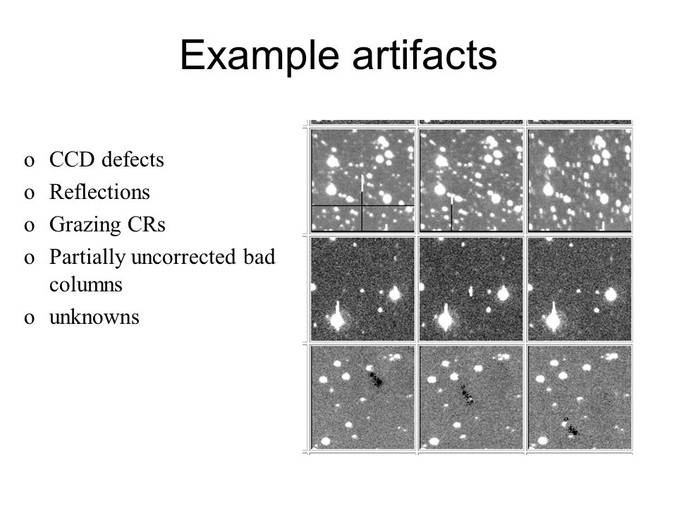 Example artifacts oCCD defects oReflections oGrazing CRs oPartially uncorrected bad columns ounknowns