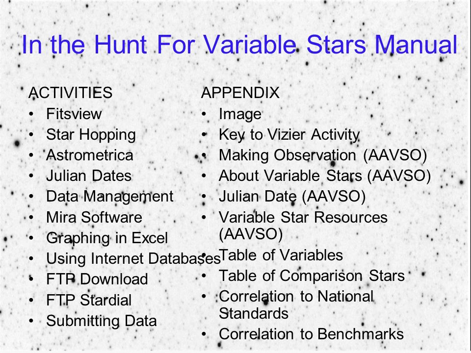 In the Hunt For Variable Stars Manual ACTIVITIES Fitsview Star Hopping Astrometrica Julian Dates Data Management Mira Software Graphing in Excel Using