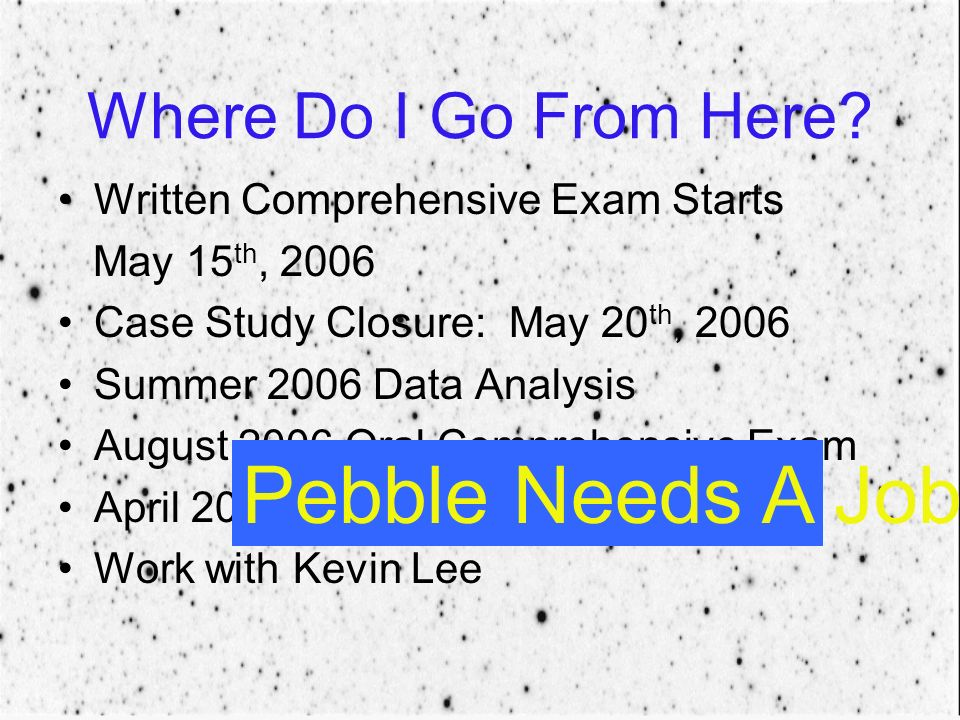 Where Do I Go From Here? Written Comprehensive Exam Starts May 15 th, 2006 Case Study Closure: May 20 th, 2006 Summer 2006 Data Analysis August 2006 O