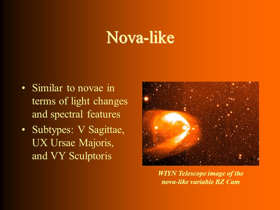 Nova-like Similar to novae in terms of light changes and spectral features Subtypes: V Sagittae, UX Ursae Majoris, and VY Sculptoris WIYN Telescope im