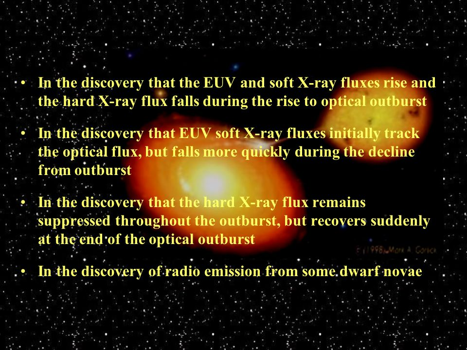 In the discovery that the EUV and soft X-ray fluxes rise and the hard X-ray flux falls during the rise to optical outburst In the discovery that EUV s