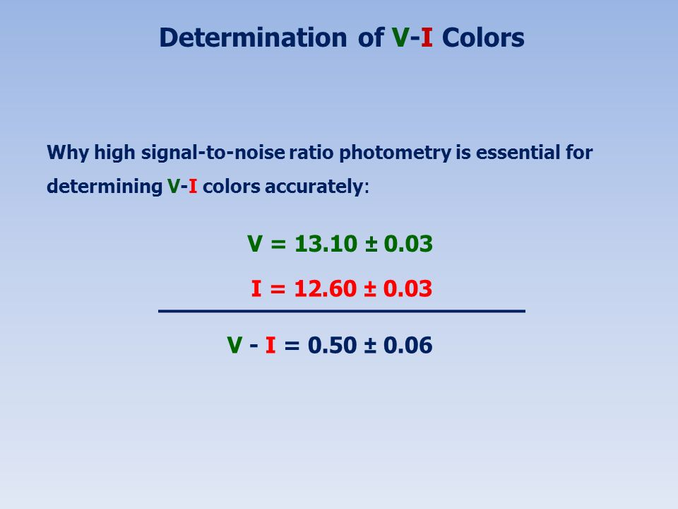 Determination of V-I Colors Why high signal-to-noise ratio photometry is essential for determining V-I colors accurately : V = 13.10 ± 0.03 I = 12.60