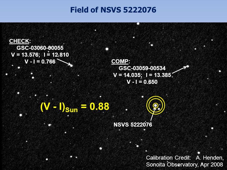 Field of NSVS 5222076 CHECK: GSC-03060-00055 V = 13.576; I = 12.810 V - I = 0.766 NSVS 5222076 COMP: GSC-03059-00534 V = 14.035; I = 13.385 V - I = 0.