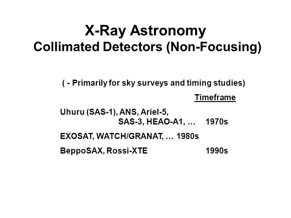 X-Ray Astronomy Collimated Detectors (Non-Focusing) ( - Primarily for sky surveys and timing studies) Timeframe Uhuru (SAS-1), ANS, Ariel-5, SAS-3, HE