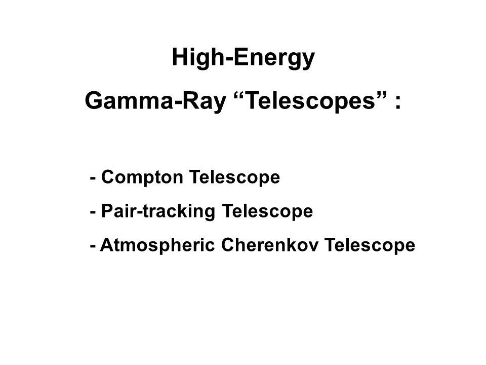 High-Energy Gamma-Ray Telescopes : - Compton Telescope - Pair-tracking Telescope - Atmospheric Cherenkov Telescope