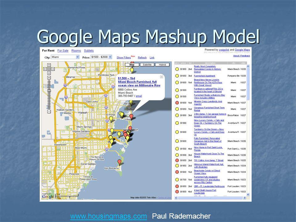 Google Maps Mashup Model www.housingmaps.comwww.housingmaps.com Paul Rademacher