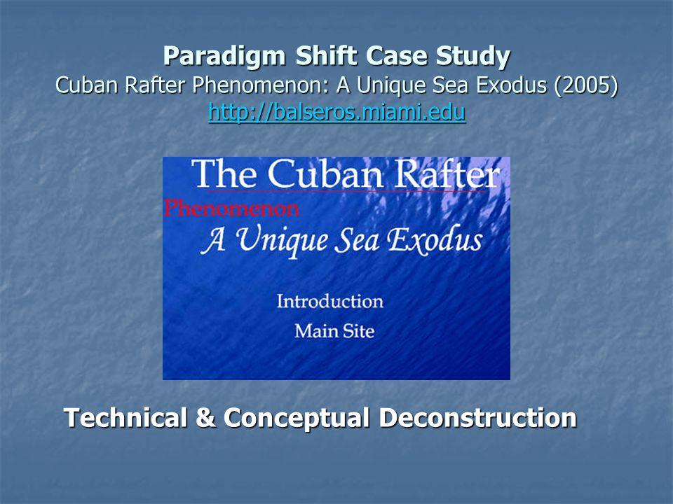 Paradigm Shift Case Study Cuban Rafter Phenomenon: A Unique Sea Exodus (2005) http://balseros.miami.edu http://balseros.miami.edu Technical & Conceptual Deconstruction Technical & Conceptual Deconstruction