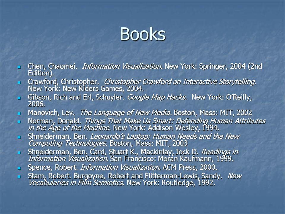 Books Chen, Chaomei. Information Visualization. New York: Springer, 2004 (2nd Edition). Chen, Chaomei. Information Visualization. New York: Springer,