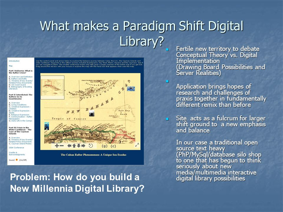 What makes a Paradigm Shift Digital Library? Fertile new territory to debate Conceptual Theory vs. Digital Implementation (Drawing Board Possibilities