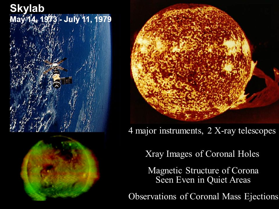 4 major instruments, 2 X-ray telescopes Observations of Coronal Mass Ejections Xray Images of Coronal Holes Magnetic Structure of Corona Seen Even in Quiet Areas Skylab May 14, 1973 - July 11, 1979