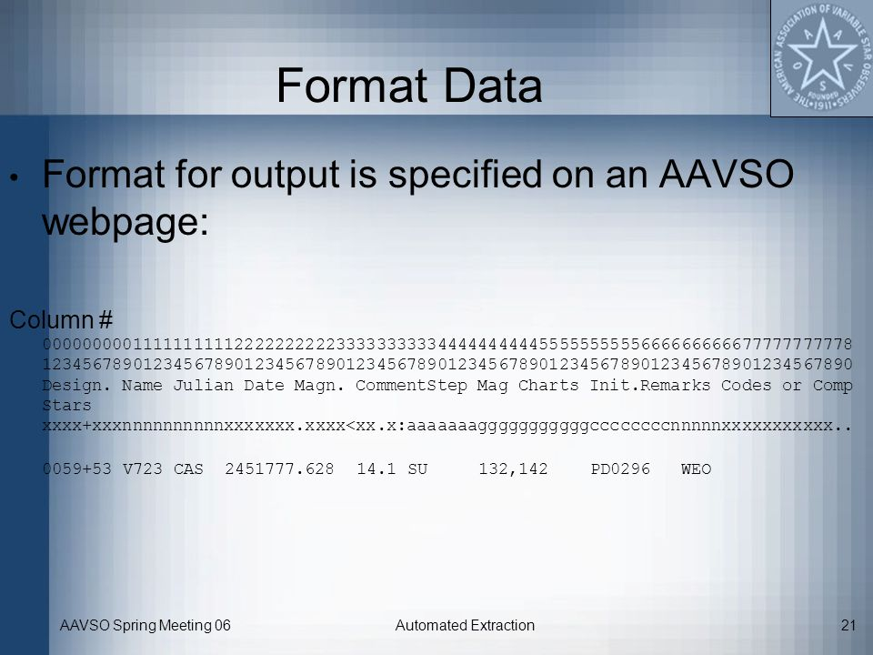 AAVSO Spring Meeting 06Automated Extraction21 Format Data Format for output is specified on an AAVSO webpage: Column # 0000000001111111111222222222233