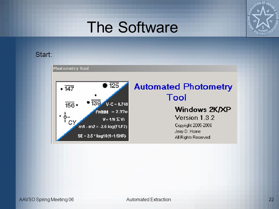AAVSO Spring Meeting 06Automated Extraction22 The Software Start: