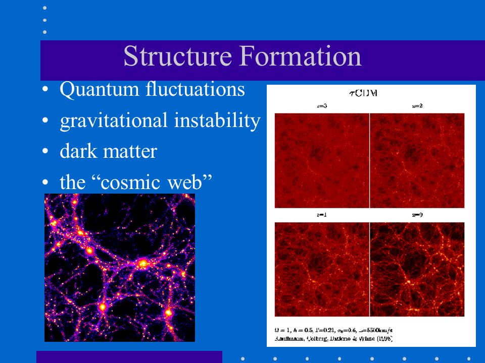 Structure Formation Quantum fluctuations gravitational instability dark matter the cosmic web