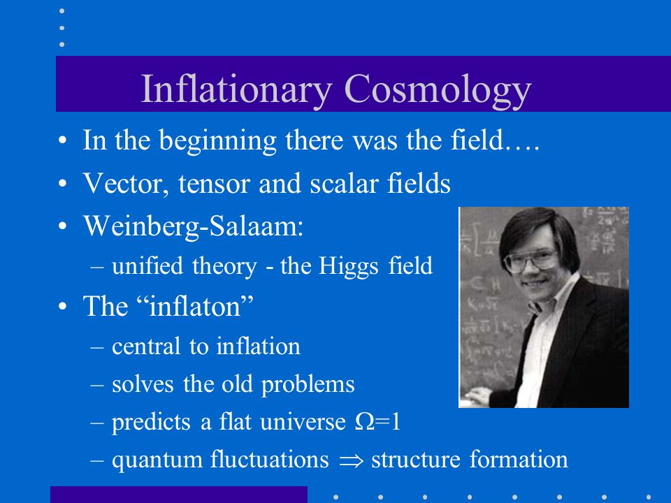 Inflationary Cosmology In the beginning there was the field…. Vector, tensor and scalar fields Weinberg-Salaam: –unified theory - the Higgs field The