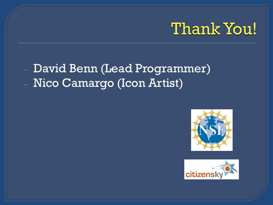 – David Benn (Lead Programmer) – Nico Camargo (Icon Artist)