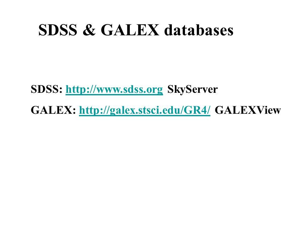 SDSS & GALEX databases SDSS: http://www.sdss.org SkyServerhttp://www.sdss.org GALEX: http://galex.stsci.edu/GR4/ GALEXViewhttp://galex.stsci.edu/GR4/