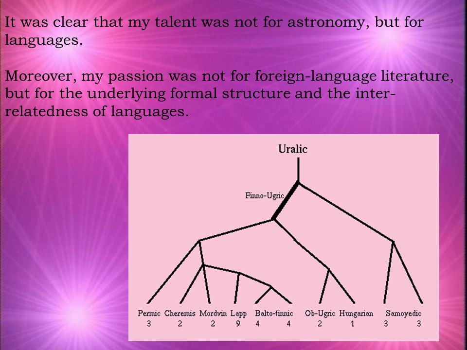 It was clear that my talent was not for astronomy, but for languages. Moreover, my passion was not for foreign-language literature, but for the underl