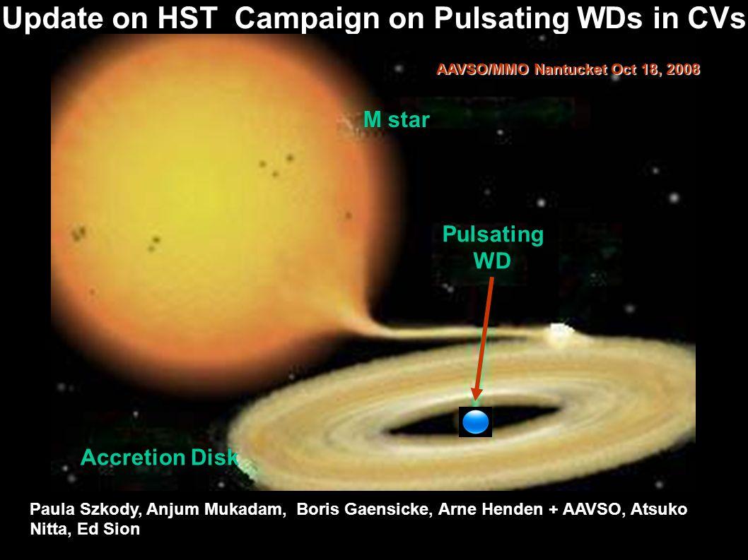 Update on HST Campaign on Pulsating WDs in CVs Pulsating WD Paula Szkody, Anjum Mukadam, Boris Gaensicke, Arne Henden + AAVSO, Atsuko Nitta, Ed Sion AAVSO/MMO Nantucket Oct 18, 2008 M star Accretion Disk