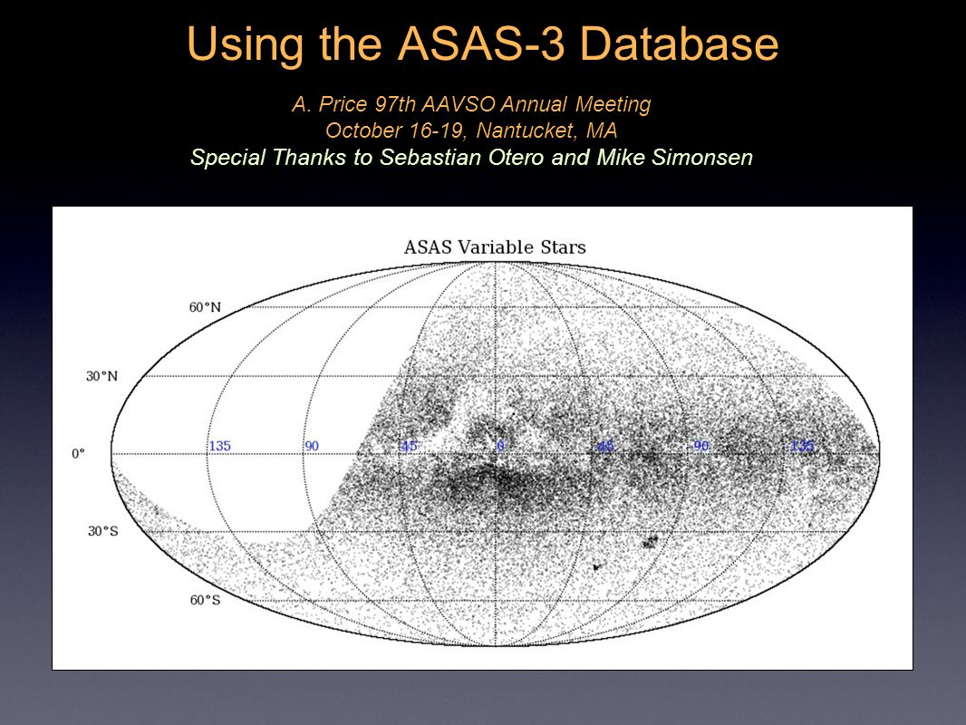 Using the ASAS-3 Database A. Price 97th AAVSO Annual Meeting October 16-19, Nantucket, MA Special Thanks to Sebastian Otero and Mike Simonsen