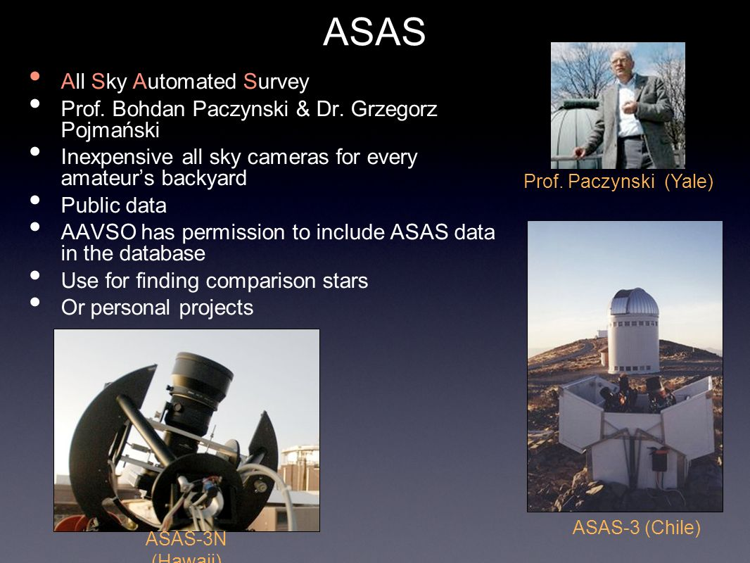 ASAS All Sky Automated Survey Prof. Bohdan Paczynski & Dr. Grzegorz Pojmański Inexpensive all sky cameras for every amateurs backyard Public data AAVS