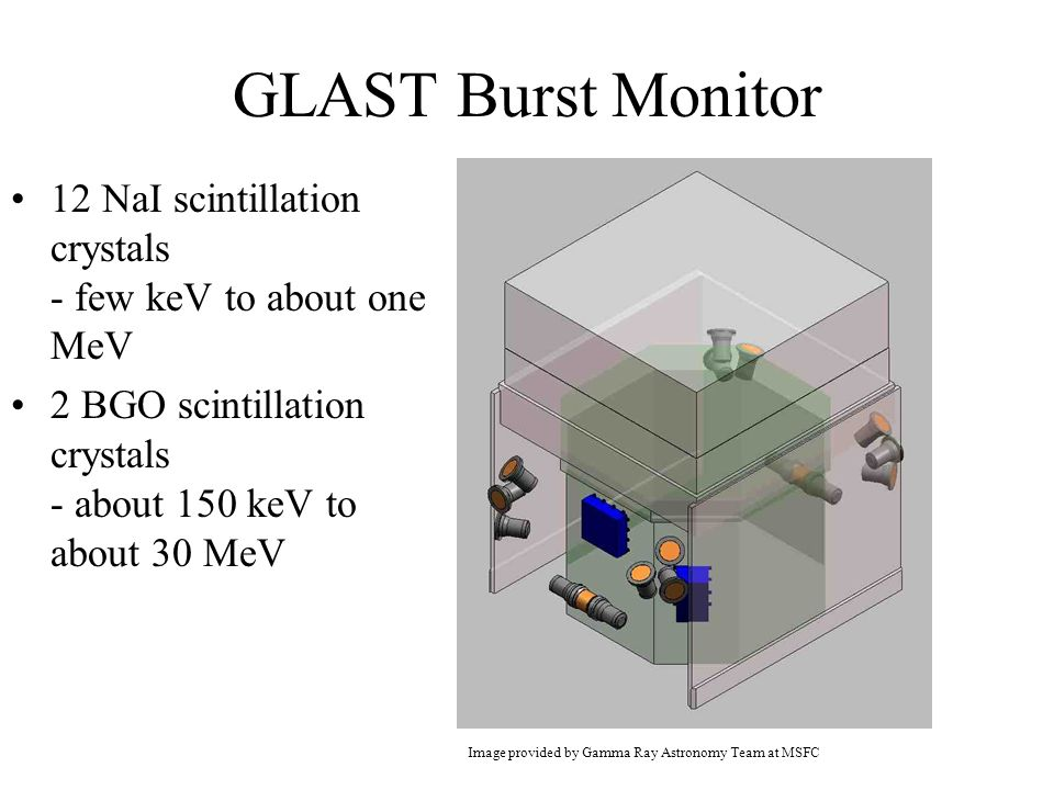 GLAST Burst Monitor 12 NaI scintillation crystals - few keV to about one MeV 2 BGO scintillation crystals - about 150 keV to about 30 MeV Image provided by Gamma Ray Astronomy Team at MSFC