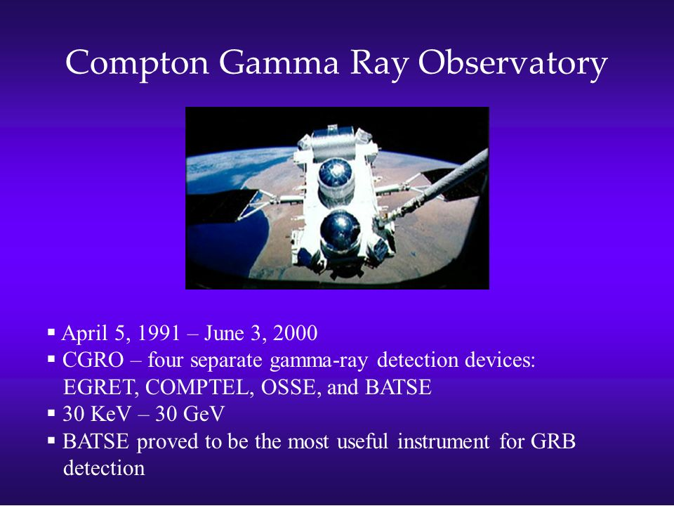 Compton Gamma Ray Observatory April 5, 1991 – June 3, 2000 CGRO – four separate gamma-ray detection devices: EGRET, COMPTEL, OSSE, and BATSE 30 KeV –