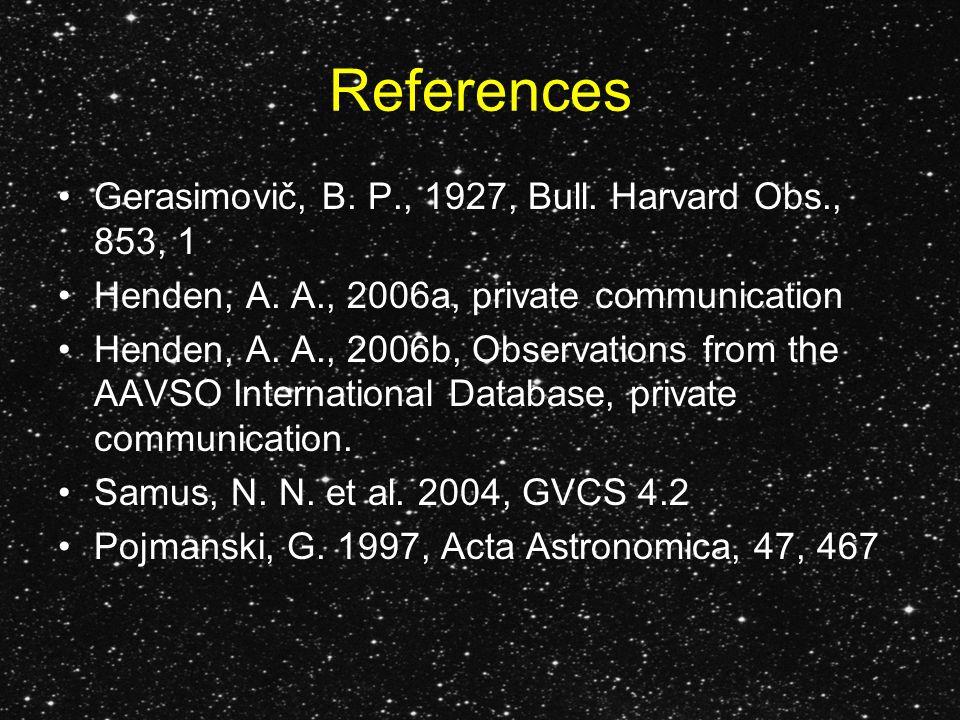 References Gerasimovič, B. P., 1927, Bull. Harvard Obs., 853, 1 Henden, A.