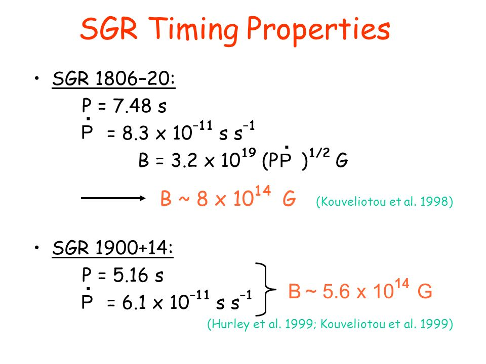SGR Timing Properties SGR 1806–20: P = 7.48 s = 8.3 x 10 –11 s s –1 B = 3.2 x 10 19 (P ) 1/2 G B ~ 8 x 10 14 G (Kouveliotou et al.