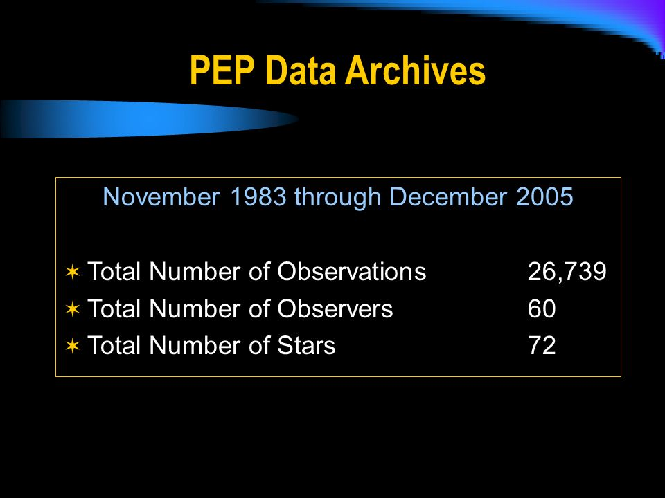 November 1983 through December 2005 Total Number of Observations26,739 Total Number of Observers 60 Total Number of Stars 72 PEP Data Archives