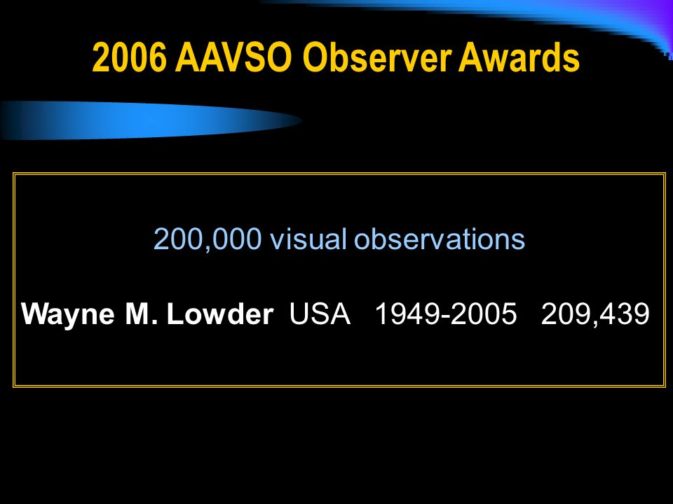 200,000 visual observations Wayne M. Lowder USA 1949-2005 209,439