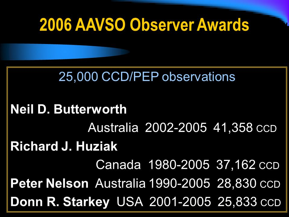 2006 AAVSO Observer Awards 25,000 CCD/PEP observations Neil D.